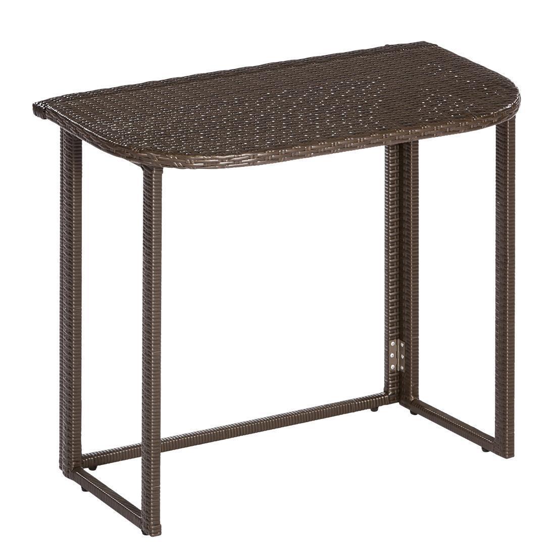 Merxx Gartentisch Klappentisch halbrund 90 90 90 x 50 cm braun Stahl Kunststoff 5c4a09