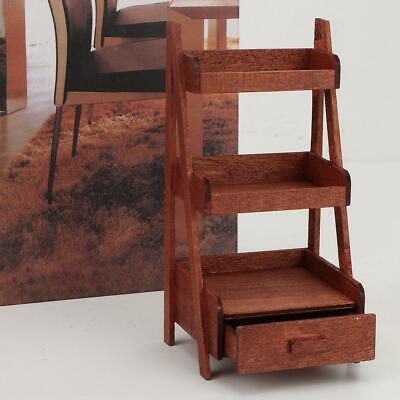 1//12 Dolls House Miniature Wooden Flower Storage Rack Display Book Shelf Stand