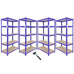 4-Estanterias-T-Rax-de-Acero-Sin-Tornillos-Azules-90cm-de-Ancho-y-Mazo-de-Goma