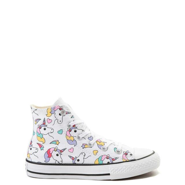 Girls Junior Converse Unicorn Rainbow CTAS Hi SNEAKERS Style ...