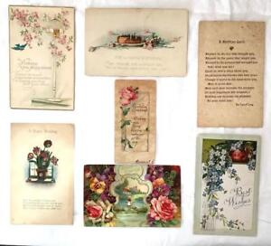 Image Is Loading Vintage Lot 8 Birthday Wishes Postcards 1910 Birdcage