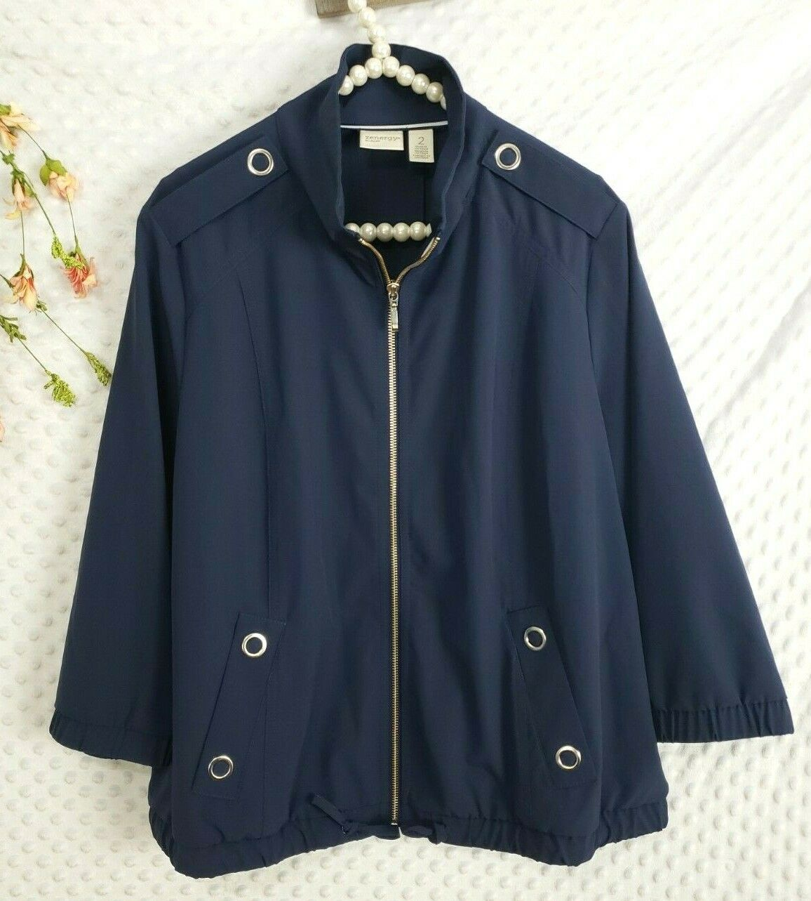 Chicos Zenergy 2 Jacket Womens Large Navy Blue 3/4 Sleeve Stretch Top Full Zip