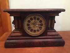 Antique Wm. L. Gilbert Mantle Clock with Brass Lion Head Accents c. 1904