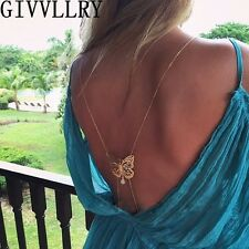 BRIDAL GOING OUT BUTTERFLY GOLD TONE BODY BACK CHAIN NECKLACE - UK SELLER GB28