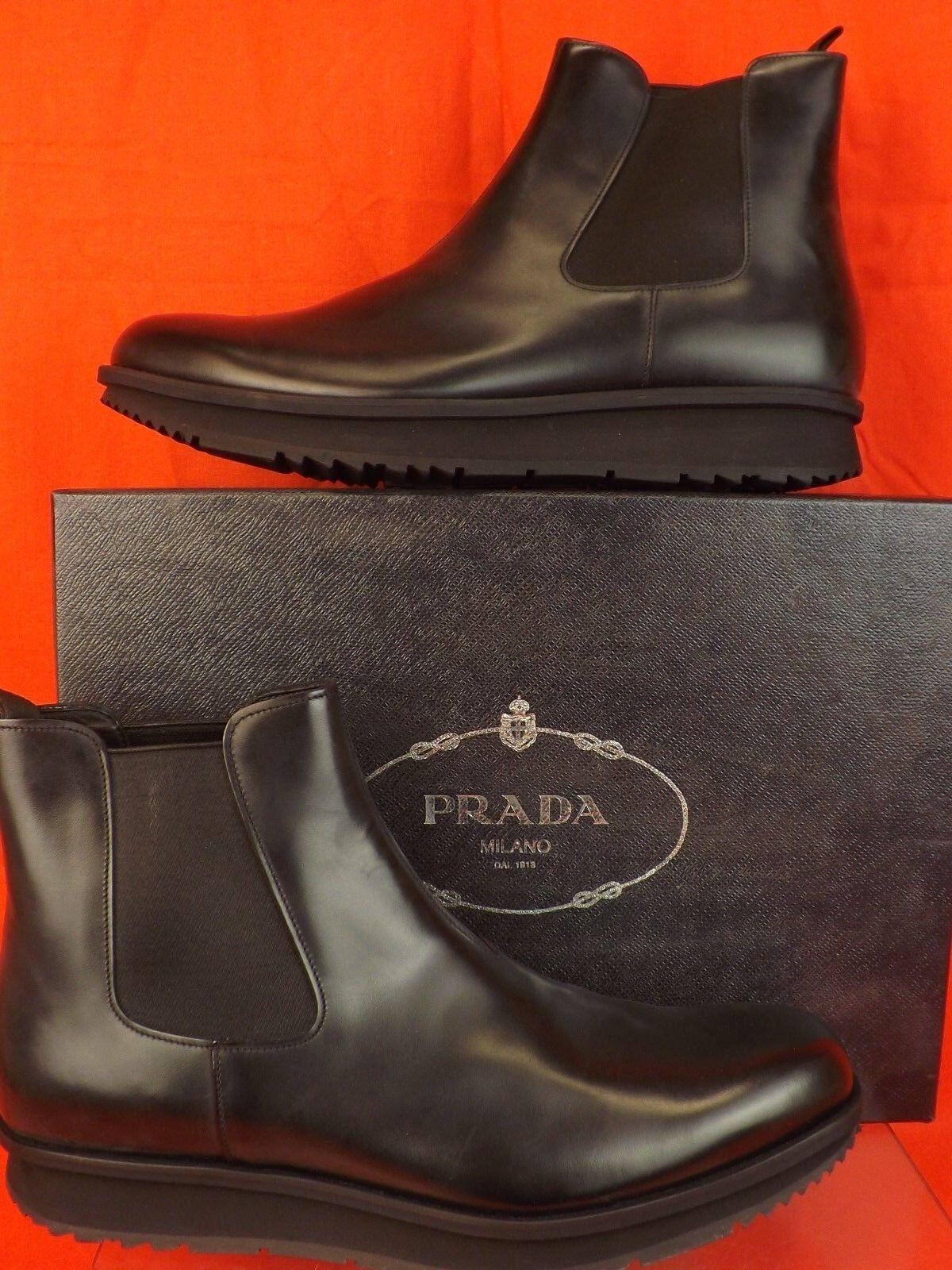 New in Box PRADA noir CHELSEA en cuir élastique Cheville Bottes 9 US 10