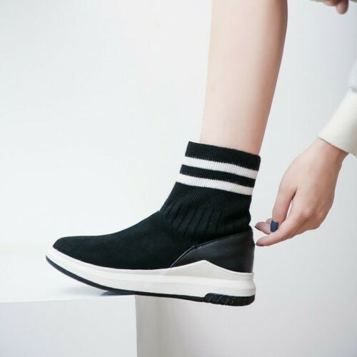 Autumn Ladies Atheletic Ankle Boots Creeper Knitted Casual Sports Shoes Pull on