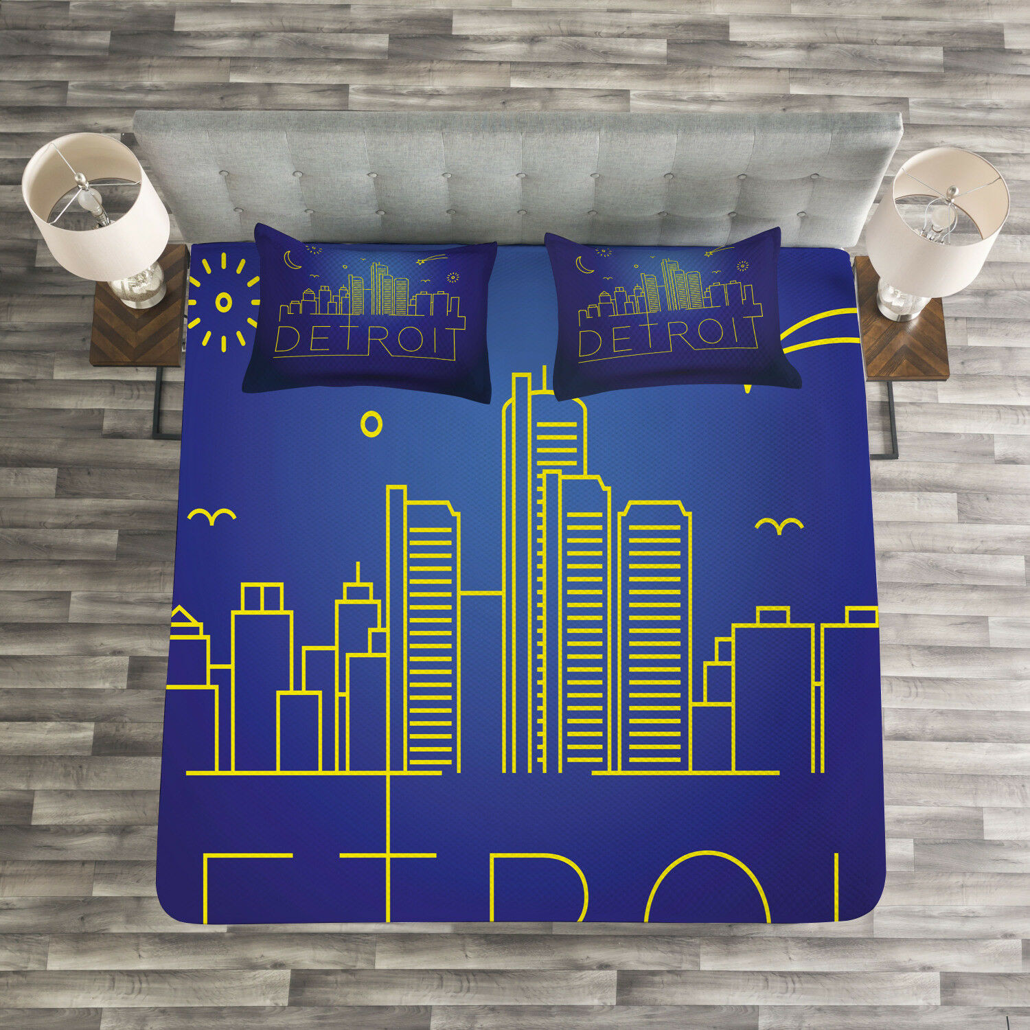 Detroit Quilted Bedspread & Pillow Shams Set, City Sky View Graphic Print