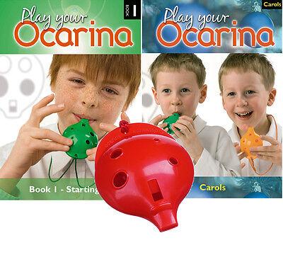 six colours 4-hole Ocarina with Book 1 /& Carols OCARINA Christmas Set