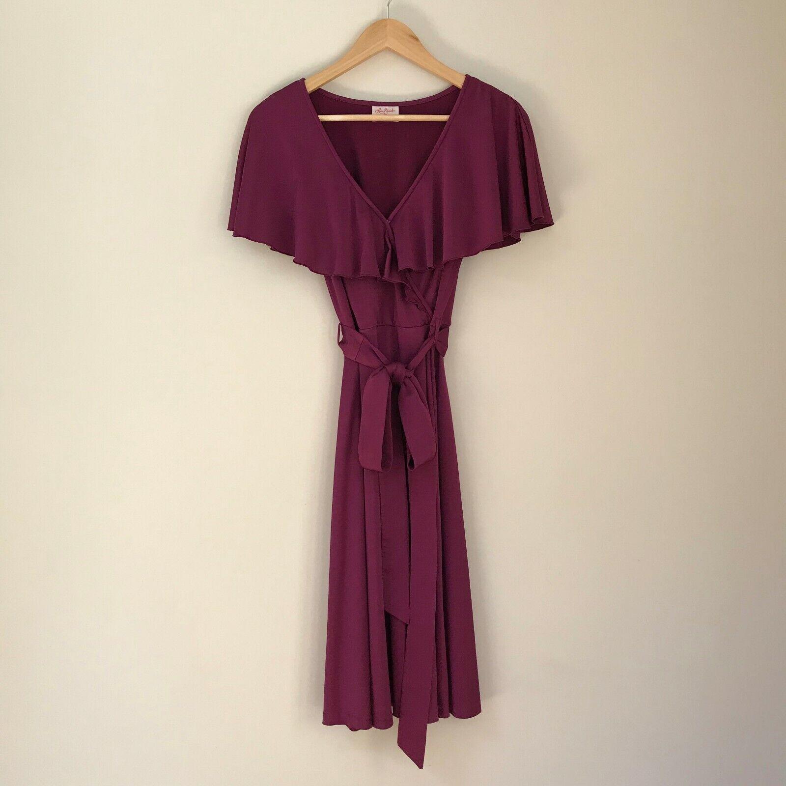 Leona Edmiston Frocks lila Tie Waist Dress With Cascading Ruffles, AU Größe 10