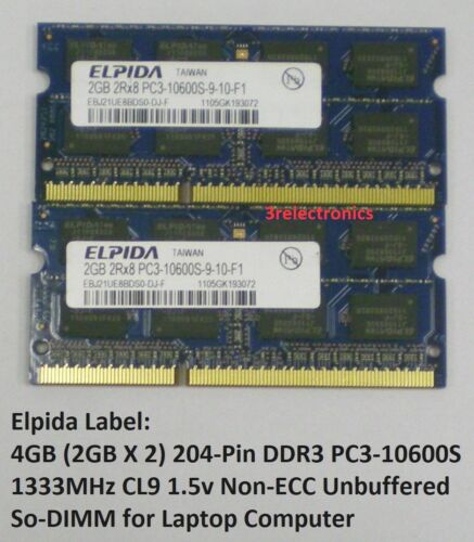 2GBx2 204-Pin DDR3 PC3-10600S 1333MHz CL9 SODIMM Laptop 4GB Kit Major Brands