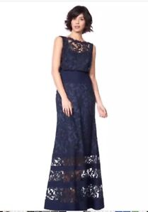 Details About Tadashi Shoji Embroidered Lace Blouson Waist Gown Navy Blue Size 10 Nwt