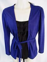 East 5th Womens M Blue Long Sleeve Pull Over Belted Black Insert Shirt Cb27e