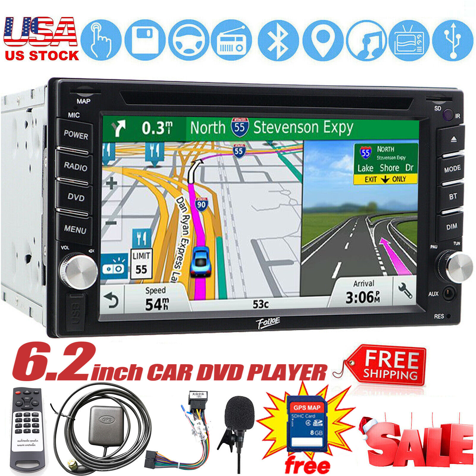 Black XTRONS 7 Inch Android 10.0 Car Stereo Radio Player GPS Navigation Built-in DSP CarAutoPlay Supports Full RCA BT5.0 1080P DVR DAB OBD TPMS for Ford Focus