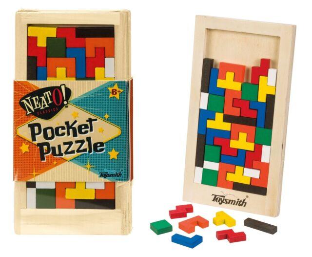 Classic Wooden Fidget Tetris Pocket Puzzle Travel Stress Relief  for Kids
