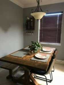 Rustic 6 Pc Solid Wood Dining Table Chairs Bench Dining Room Furniture Set Sale Ebay