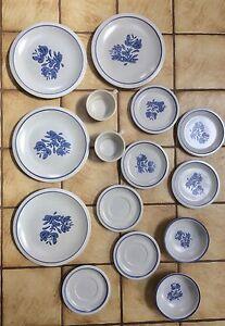 15 PIECE VINTAGE PFALTZGRAFF YORKTOWN DINNERWARE STONEWARE BLUE | eBay