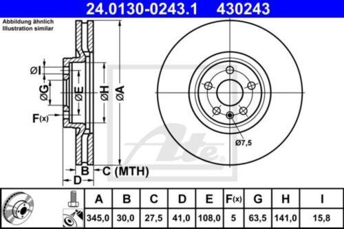 2x Unités antithrombine Disque De Frein Disques De Frein Jeu De Freins Devant 24.0130-0243.1