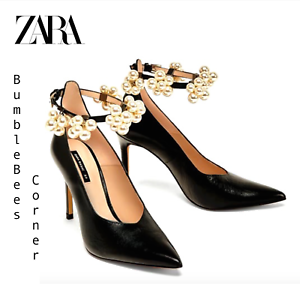 da64c0421d5 Details about ZARA High Heel Pumps BEADED ANKLE STRAP 3-in-1 LEATHER Court  Shoes NIB 6230/201