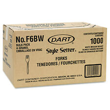 Dart Style Setter Mediumweight Plastic Forks White 1000carton