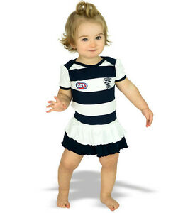AFL Girls Toddler Baby Geelong Cats Footysuit with Frills