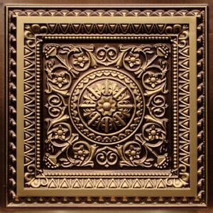 Details About Faux Tin Decorative Ceiling Tile 223 Antique Gold Diy Drop In Glue Up 50 Tiles