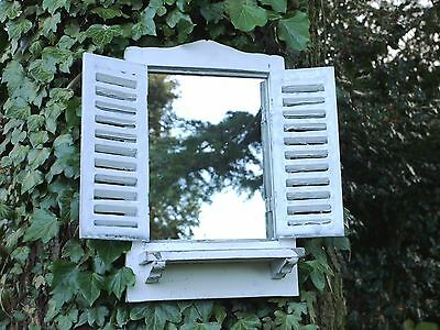 Shabby Chic Garden Mirror Window wood French country Vintage White Wash 46CM