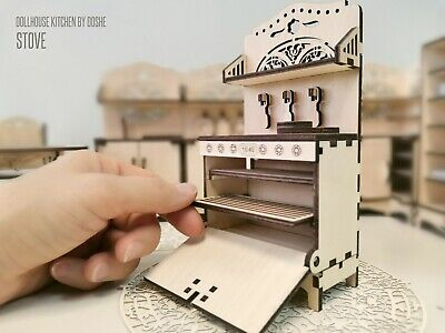 Miniature Doll house furniture Laser cut Dollhouse KITCHEN TABLE with chairs
