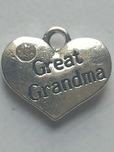 1 o 4 &#034;gran abuela&#034; tema familiar Rhinestone Corazón Plata Tibetana encanto  </span>