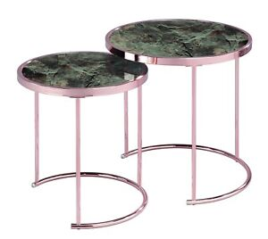Details About Coffee Table Decore Set 2 Round Side Marble Glass Copper Gnt09mrb