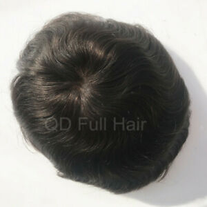 ee37a213f6c Details about Swiss Lace Black Men Toupees Bleached Knots Hair Replacement  Systems Hairpieces