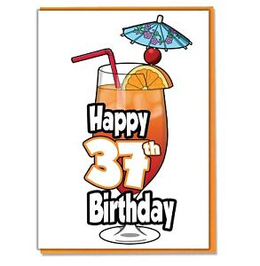 Image Is Loading Cocktail 37th Birthday Card Ladies Mens Daughter Son
