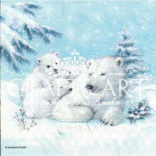 polar bears winter snow design-X20 Xmas 4 Single paper decoupage napkins