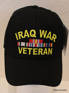 36a088f1 Iraq War Veteran Hat Eagle Crest W/ Ribbons Embroidered Military ...
