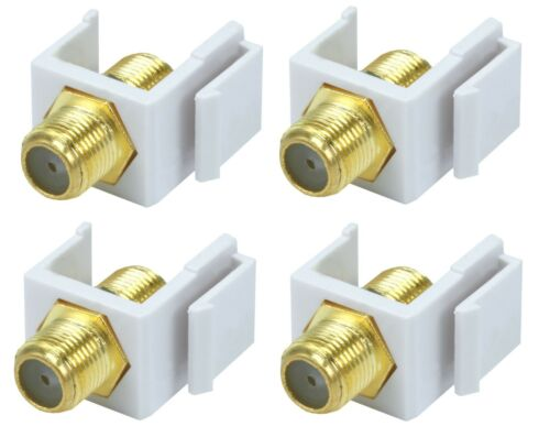 4x F-Type Female to Female F//F Coax Coaxial Cable Keystone Jack Snap-in Insert