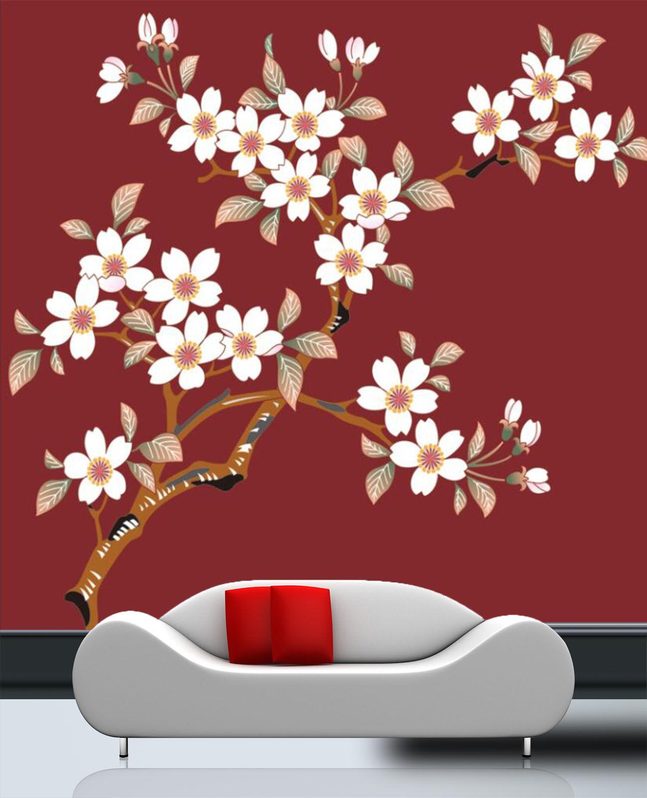3D  Zweige der whiteen Blüten  Fototapeten Wandbild Fototapete BildTapete Familie