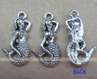 P043 12pcs Tibetan Silver Charm Mermaid Retro Jewelry Accessories Wholesale