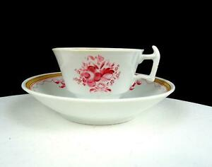 "ENGLISH PORCELAIN ANTIQUE LONDON SHAPE PINK FLORAL 2 1/4"" CUP & SAUCER 1815-1830"