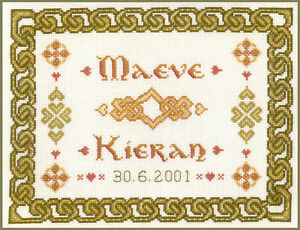 complete cross stitch kit on 14 aida with COLOUR chart Plum Wedding Sampler