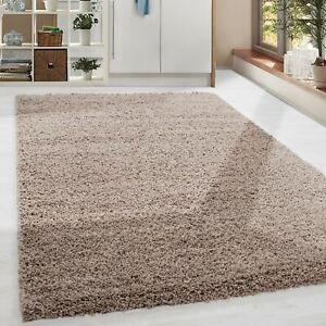 Details zu Shaggy Hochflor Langflor Günstige Beige Teppiche Wohnzimmer  versc. Größen