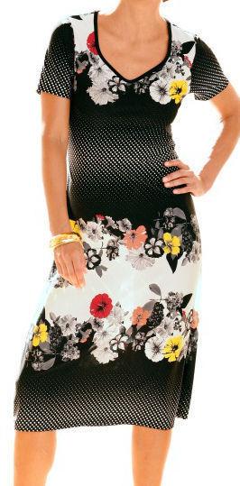Schwarz weiß gepunktetes Sommerkleid mit bunten Blaumen  Gr.40 Gr.40 Gr.40  Jerseykleid  WENZ 17914d