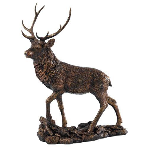 Border Fine Arts Studio Bronze Stag Rustic Collection Figure on Stand