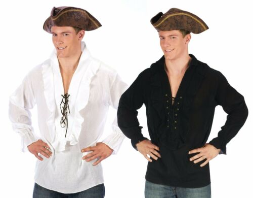 Mens Pirate Shirt Swashbuckler Caribbean Pirates Frilly Lace-Up Adult Costume