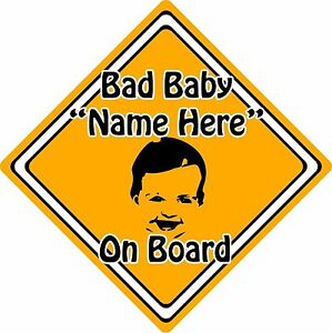 Personalised-Bad-Baby-Child-On-Board-Car-Sign-Baby-Face-Silhouette-Orange