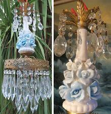 1of4 Vintage Brass ceiling chandelier lamp crystal prism Porcelain blue ROSE old