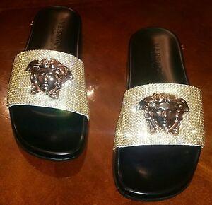 Men's Sandalia Versace Palazzo Head Dorado Cristal Medusa Adornado y0wvm8NnO