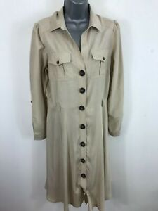 WOMENS-MONSOON-CREAM-BUTTON-UP-CASUAL-SMART-LONG-DETECTIVE-COAT-JACKET-SIZE-12