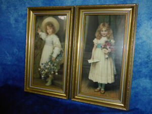 Pair-of-vintage-style-ART-PRINTS-Little-girl-in-dress-with-flowers-English-style