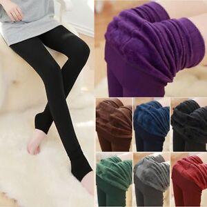 Girls women Blace Leggings Fleece Lined Thermal Winter Warm Stretchy Size S-L