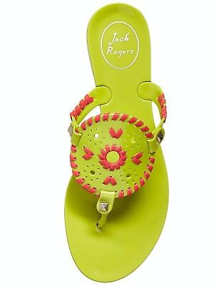 New Jack Rogers Georgica Jelly Sandals Lime Green Bright Pink 8M
