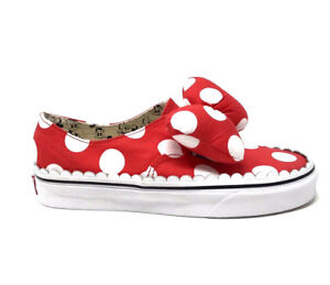 Vans Authentic Gore Disney Minnie Bow Red Women s 7 Skate Shoes New ... 12d2bae00